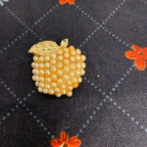 Vintage Pearl Apple Shaped Brooch Pin Teacher Gift